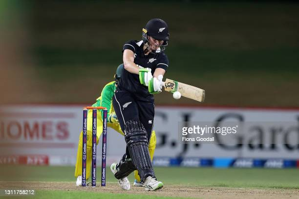 Amy Satterthwaite, captain of New Zealand plays a shot during game three of the One Day International series between the New Zealand White Ferns and...