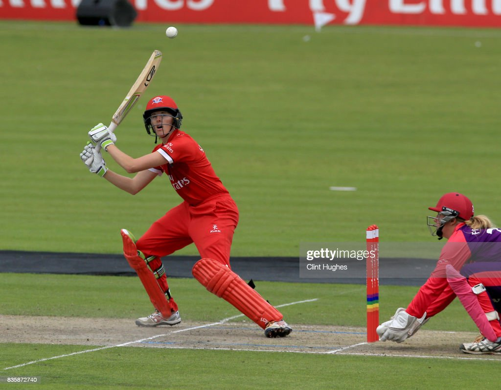 Amy Satterthwaite of Lancashire Thunder bats during the Kia Super League match between Lancashire Thunder and Loughborough Lightning at Blackpool Cricket Club on August 20, 2017 in Blackpool, England.