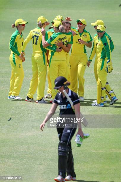 Amy Satterthwaite of New Zealand leaves the field after getting out during game one in the women's One Day International Series between Australia and...