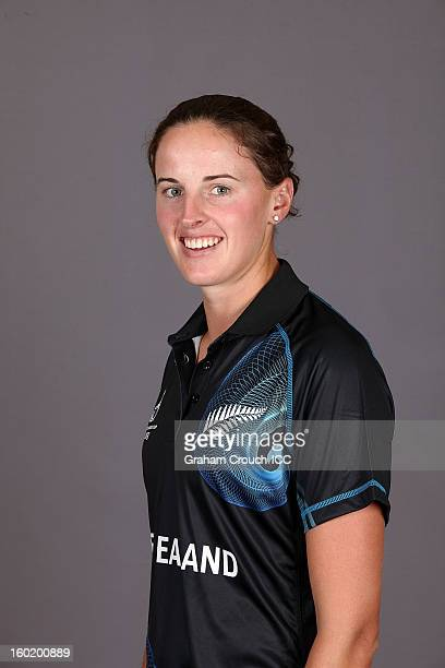 Amy Satterthwaite of New Zealand poses at a portrait session ahead of the ICC Womens World Cup 2013 at the Taj Mahal Palace Hotel on January 27 2013...