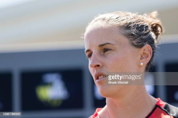 Amy Satterthwaite of the Melbourne Renegades speaks during the Women's Big Bash League media opportunity at Drummoyne Oval on January 18 2019 in...