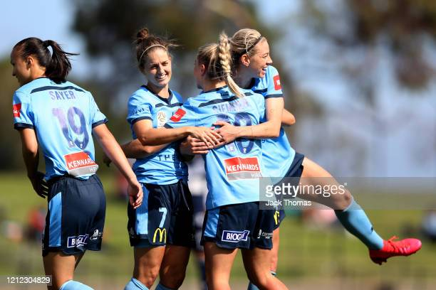 Amy Sayer, Ellie Brush, Remy Siemsen and Alanna Kennedy of Sydney FC during the W-League Semi Final match between the Melbourne Victory and Sydney FC...