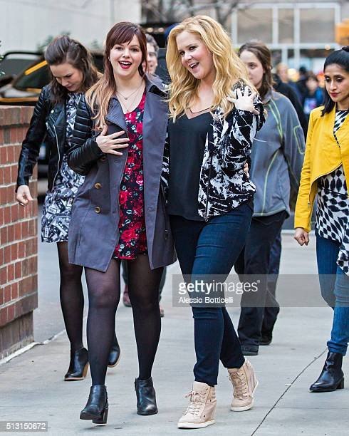 Amy Schumer and Amber Tamblyn are seen on set of 'Inside Amy Schumer' on February 29 2016 in New York City