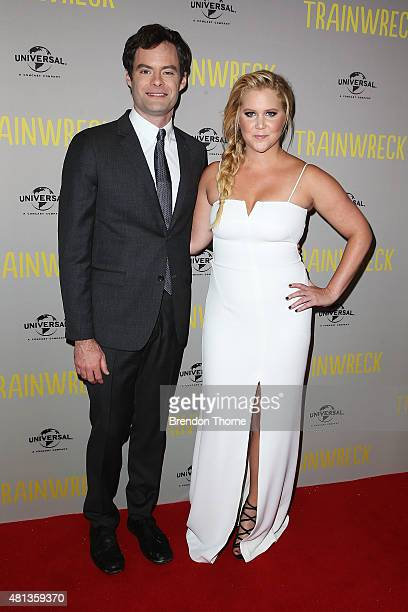 Amy Schumer and Bill Hader arrive at the Trainwreck Australian premiere at Event Cinemas George Street on July 20 2015 in Sydney Australia