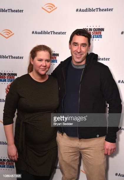 Amy Schumer and Chris Fischer attend the Opening Night for Colin Quinn's 'Red State Blue State' at Audible's Minetta Lane Theatre in NYC at the...