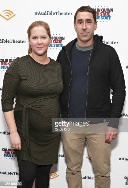 Amy Schumer and Chris Fischer attend the opening night of Colin Quinn Red State Blue State at the Minetta Lane Theatre on January 22 2019 in New York...