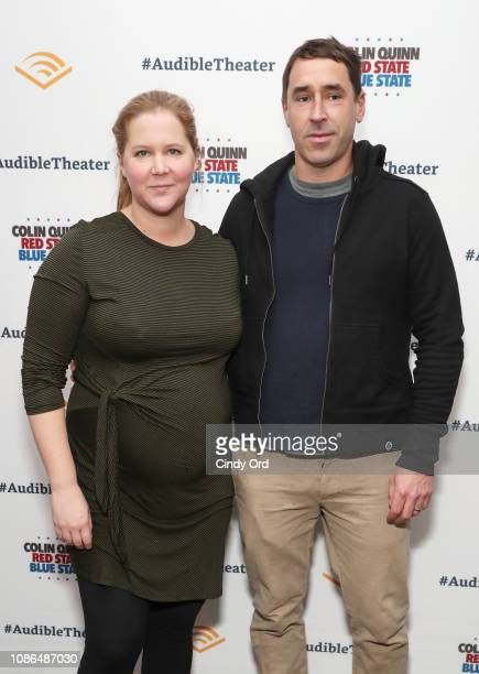 Amy Schumer and Chris Fischer attend the opening night of 'Colin Quinn Red State Blue State' at the Minetta Lane Theatre on January 22 2019 in New...