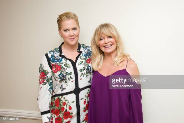 Amy Schumer and Goldie Hawn at the 'Snatched' Press Conference at the Fairmont Hotel on April 22 2017 in Santa Monica California