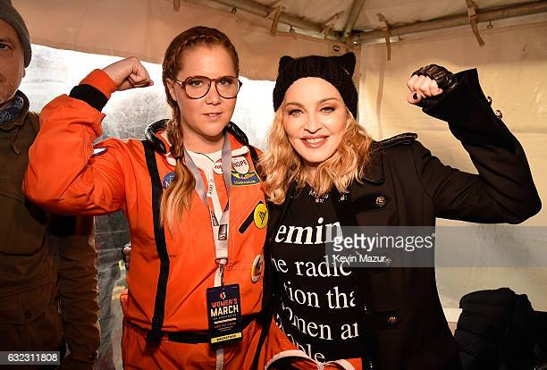 Amy Schumer and Madonna attend the rally at the Women's March on Washington on January 21 2017 in Washington DC