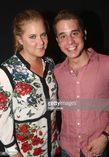 Amy Schumer and Tony Winner Ben Platt pose backstage at the hit musical 'Dear Evan Hansen' on Broadway at The Music Box Theatre on July 22 2017 in...