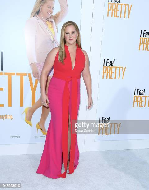 """Amy Schumer arrives at the Premiere Of STX Films' """"I Feel Pretty"""" at Westwood Village Theatre on April 17, 2018 in Westwood, California."""