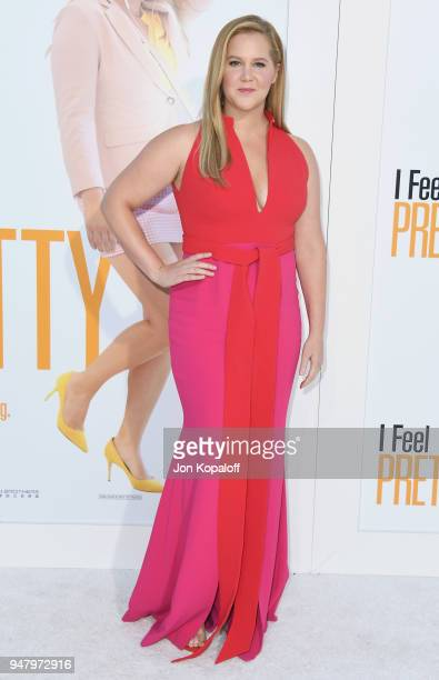 """Amy Schumer attends the premiere of STX Films' """"I Feel Pretty"""" at Westwood Village Theatre on April 17, 2018 in Westwood, California."""