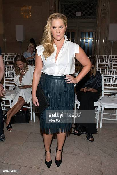 Amy Schumer attends the Zac Posen Spring 2016 fashion show during New York Fashion Week at Vanderbilt Hall at Grand Central Terminal on September 14,...