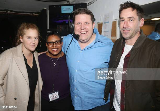 Amy Schumer Director Schele Williams Stage Manager Jason Daunter and Chef Chris Fischer pose backstage at 'The People's State Of The Union' at Town...
