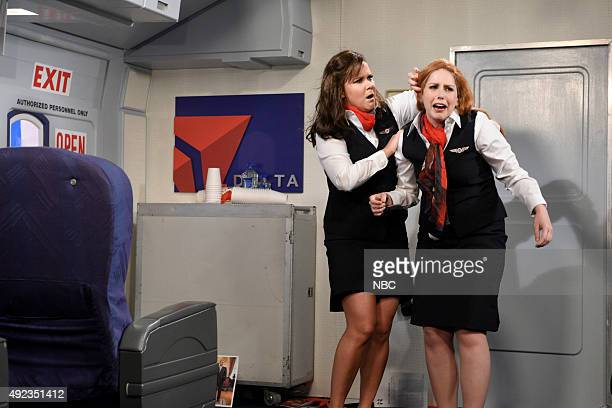 LIVE 'Amy Schumer' Episode 1685 Pictured Amy Schumer and Vanessa Bayer during the 'Delta Flight' sketch on October 10 2015