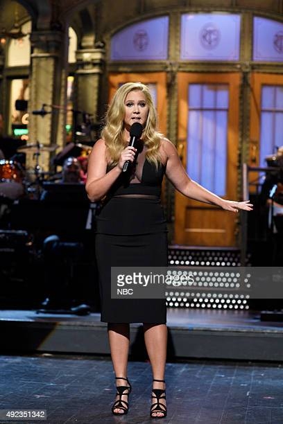 LIVE Amy Schumer Episode 1685 Pictured Amy Schumer during the monologue on October 10 2015