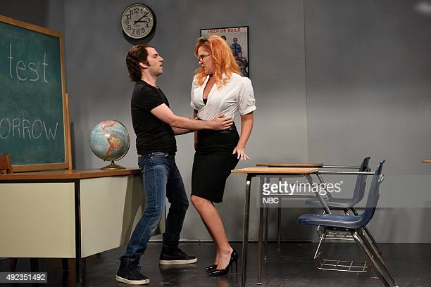 LIVE Amy Schumer Episode 1685 Pictured Kyle Mooney and Amy Schumer during the Porn Teacher sketch on October 10 2015