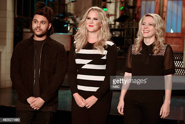 LIVE Amy Schumer Episode 1685 Pictured The Weeknd Amy Schumer and Kate McKinnon on October 8 2015