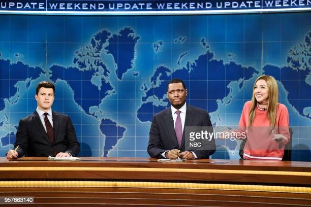 LIVE 'Amy Schumer' Episode 1745 Pictured Colin Jost Michael Che Heidi Gardner as Bailey Gismert during 'Weekend Update' in Studio 8H on Saturday May...