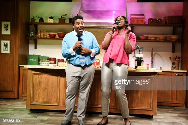 LIVE 'Amy Schumer' Episode 1745 Pictured Kenan Thompson as Pervis Scott Leslie Jones as Traci Scott during 'Gospel Brunch' in Studio 8H on Saturday...