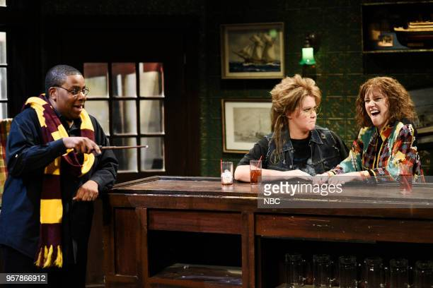 LIVE 'Amy Schumer' Episode 1745 Pictured Kenan Thompson Kate McKinnon Amy Schumer during 'Last Call' in Studio 8H on Saturday May 12 2018
