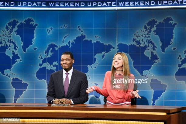 LIVE 'Amy Schumer' Episode 1745 Pictured Michael Che Heidi Gardner as Bailey Gismert during 'Weekend Update' in Studio 8H on Saturday May 12 2018