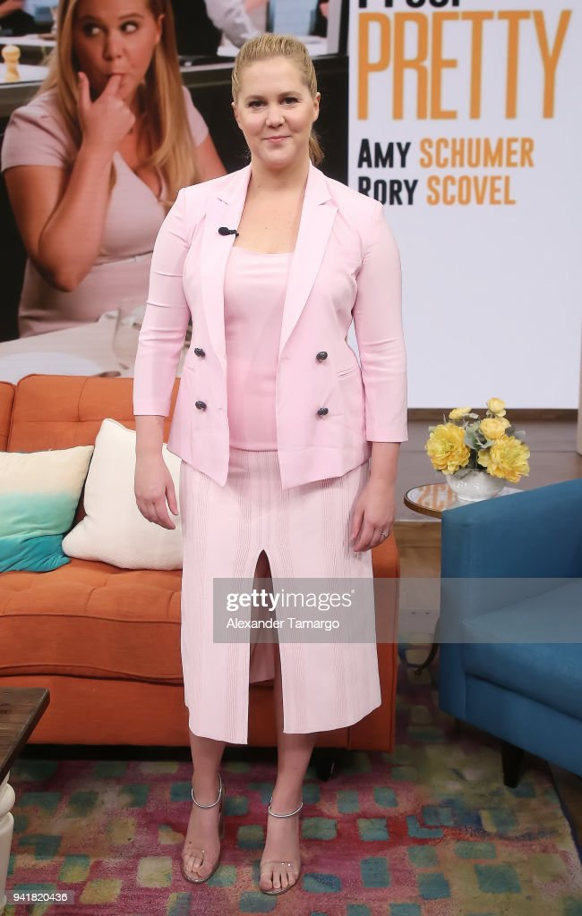 Amy Schumer is seen on the set of 'Despierta America' at Univision Studios to promote the film 'I Feel Pretty' on April 3, 2018 in Miami, Florida.