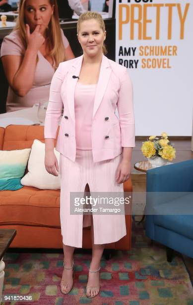 Amy Schumer is seen on the set of 'Despierta America' at Univision Studios to promote the film 'I Feel Pretty' on April 3 2018 in Miami Florida