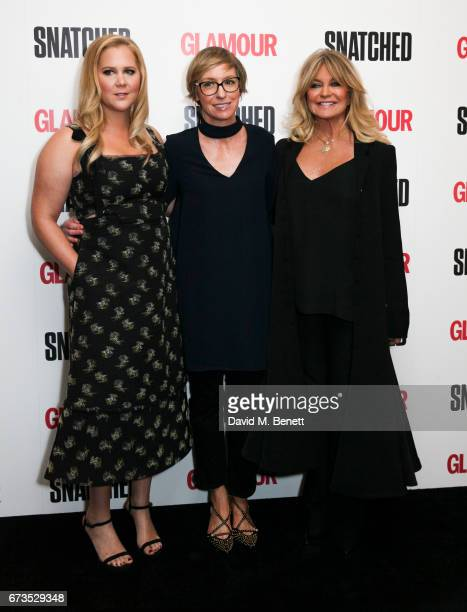 Amy Schumer Jo Elvis and Goldie Hawn attend a special screening of 'Snatched' at The Soho Hotel on April 26 2017 in London England