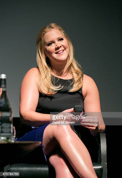 Amy Schumer speaks on stage during a QA as Glamour Magazine host a screening of new comedy film Trainwreck at The Mayfair Hotel on June 3 2015 in...