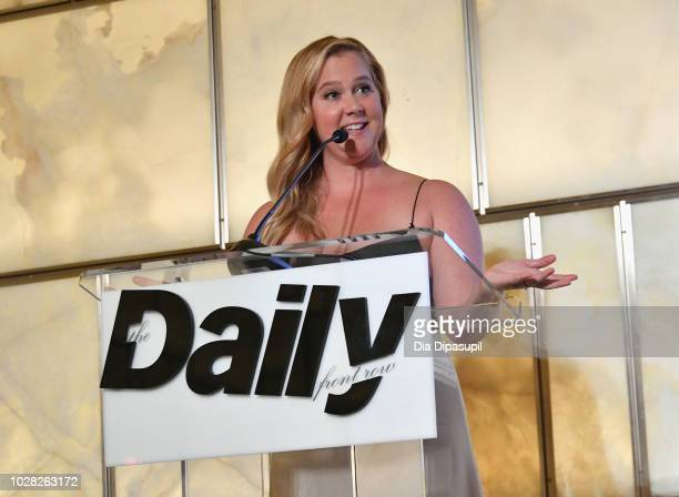 Amy Schumer speaks onstage at Daily Front Row's Fashion Media Awards presented by ZadigVoltaire Sunglass Hut Moroccan Oil LIM Fiji on September 6...