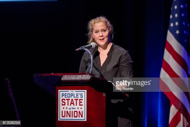 Amy Schumer speaks onstage during The People's State Of The Union at Town Hall on January 29 2018 in New York City