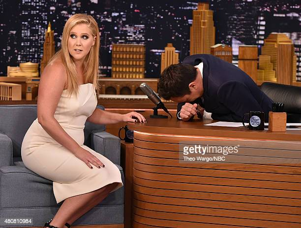 Amy Schumer Visits 'The Tonight Show Starring Jimmy Fallon' at Rockefeller Center on July 15 2015 in New York City
