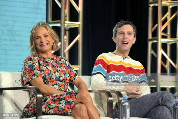 Amy Sedaris and Cole Escola of 'At Home with Amy Sedaris' speak onstage during the truTV portion of the TCA Turner Winter Press Tour 2019...