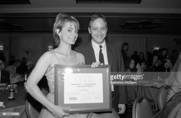 Amy Sedaris and David Sedaris pose for a photo at the Obie Awards in 1995 in New York City New York