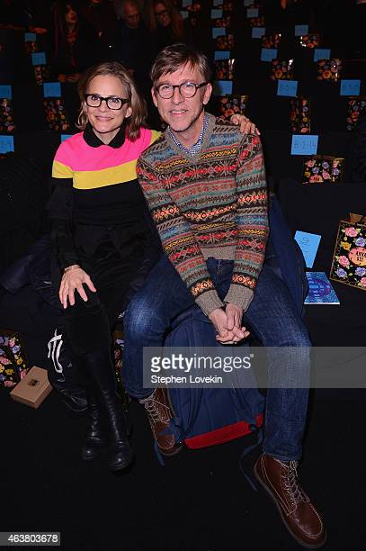 Amy Sedaris and Todd Oldham attend the Anna Sui fashion show during MercedesBenz Fashion Week Fall 2015 at The Theatre at Lincoln Center on February...