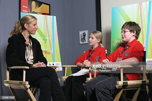 Amy Sewell director of 'Mad Hot Ballroom' talks with Juliette Kessler and Jamie Sanders of Scholastic News at 'Downtown Youth Behind The Camera' at...