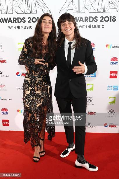 Amy Shark and Courtney Barnett arrive for the 32nd Annual ARIA Awards 2018 at The Star on November 28 2018 in Sydney Australia