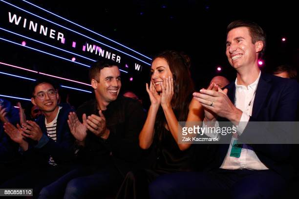 Amy Sharp celebrates winning the ARIA for Breakthrough Artist during the 31st Annual ARIA Awards 2017 at The Star on November 28 2017 in Sydney...