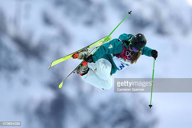 Amy Sheehan of Australia practices ahead of the Freestyle Skiing Ladies' Ski Halfpipe Qualification on day thirteen of the 2014 Winter Olympics at...