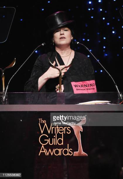 Amy Sherman Palladino speaks onstage during the 71st Annual Writers Guild Awards New York ceremony at Edison Ballroom on February 17 2019 in New York...