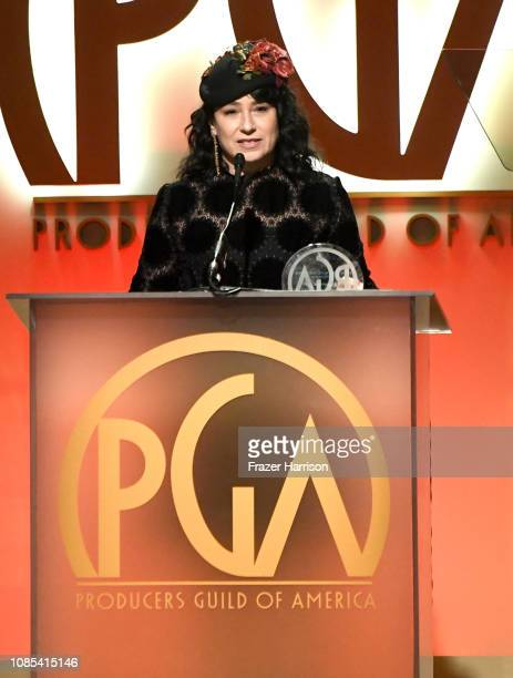 Amy ShermanPalladino accepts the Norman Lear Achievement in Television Award onstage during the 30th annual Producers Guild Awards at The Beverly...