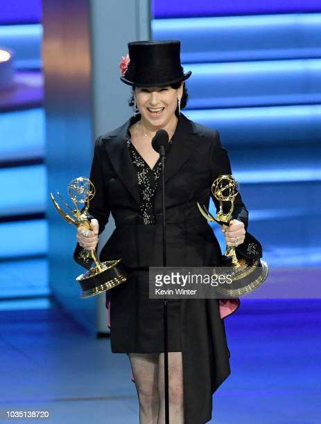 Amy Sherman-Palladino accepts the Outstanding Directing for a Comedy Series award for 'The Marvelous Mrs. Maisel' onstage during the 70th Emmy Awards...