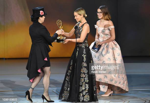 Amy ShermanPalladino accepts the Outstanding Writing for a Comedy Series award for 'The Marvelous Mrs Maisel' from Emilia Clarke and Millie Bobby...