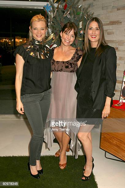 Amy Smart Founder of Eco Stiletto Rachel Sarnoff and Anna Getty attend Anna Getty's I'm Dreaming of a Green Christmas Book Launch Party at...