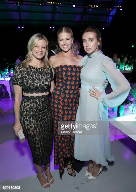 Amy Smart Sarah Wright and Anna Schafer pose backstage at the Environmental Media Association's 27th Annual EMA Awards at Barkar Hangar on September...