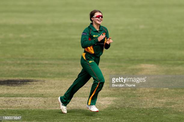 Amy Smith of the Tigers celebrates after claiming the wicket of Madeline Penna of the Meteors during the WNCL match between Tasmania and ACT at EPC...
