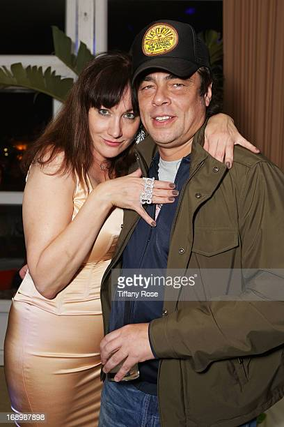 Amy Socco and Benicio Del Toro attend the Worldview Entertainment Cannes Celebration during the 66th Annual Cannes Film Festival at Carlton Beach...