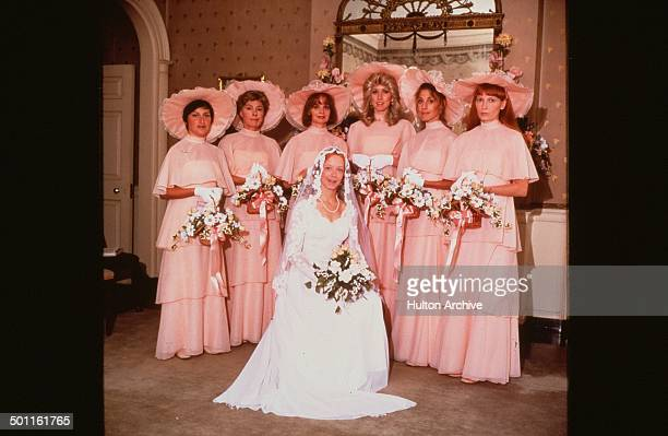 Amy Stryker poses with bridesmaids for the 20th Century Fox movie 'A Wedding' circa 1978