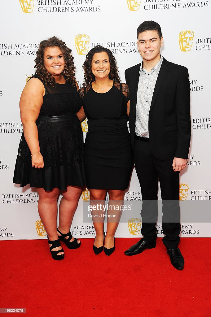 Amy Tapper, Nikki Tapper and Josh Tapper attend the British Academy Children's Awards at The Roundhouse on November 22, 2015 in London, England.